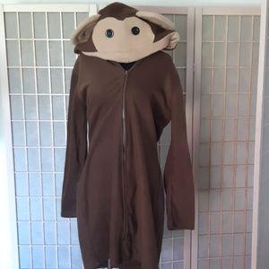 Hooded monkey robe long tail, banana detail M